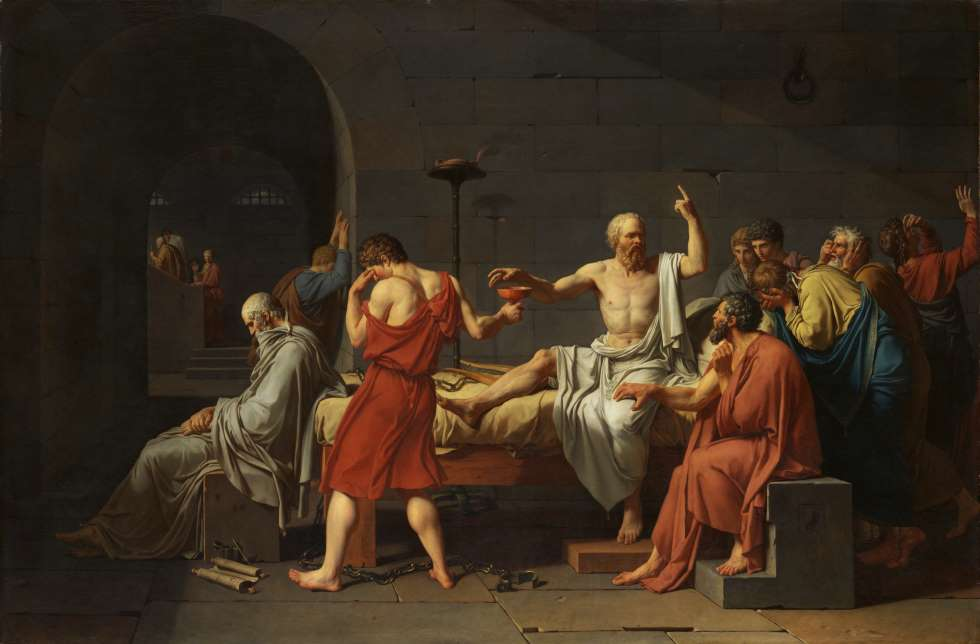 "Pintura ""A Morte de Sócrates"", de Jacques-Louis David"
